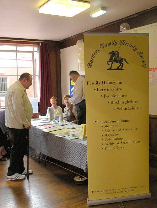Our stand at the Dumfries and Galloway FHS Homecoming Fair on 27th June 2009, Dumfries, Scotland