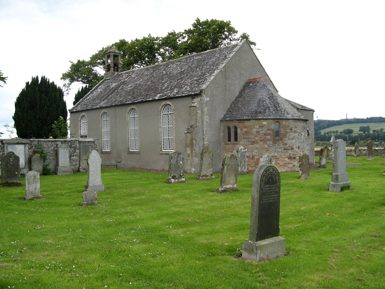 Crailing Parish Church with Piniel Heugh in the background